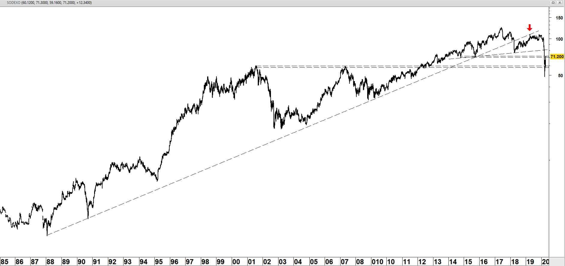 Sodexo vanaf 1985 (logaritmische schaal)
